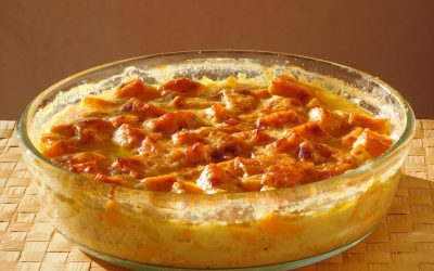 Gratin patate douce coco curry