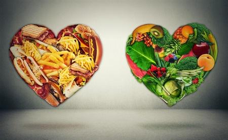 2 coeurs Un sain rempli de fruits et de légumes Et un malade rempli de frite, hamburger, pates, pains...